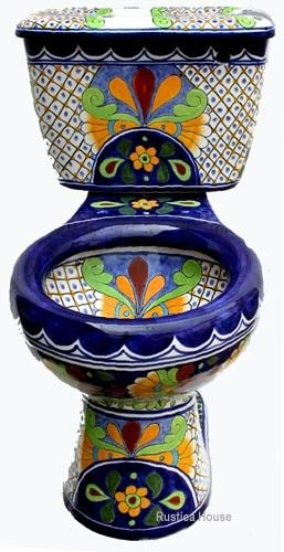 Mexican Talavera Toilet set Mexican bathroom sets consisting of hand painted sink, talavera toilet, mexican toilet seat and ceramic accessories. Brand new bath decor furnishings from Mexico ideal for any indoor remodeling or construction project. Talavera sinks, handmade rustic tiles and talavera toilets are often used to decorate traditional country and hacienda residential as well as Southeastern style restaurant bathrooms.