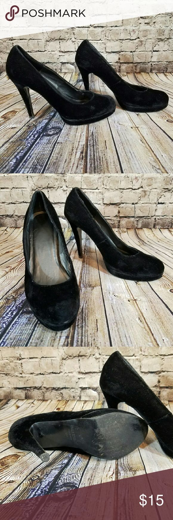 "Colin Stuart Black Velvet Stiletto Pump These are definitely a little bruised, but if you want to catch the velvet trend on a budget, these are your gals!! The seems are pulling apart in a few spots Size 6.5 4"" heel with 1/2"" platform Colin Stuart Shoes Heels"