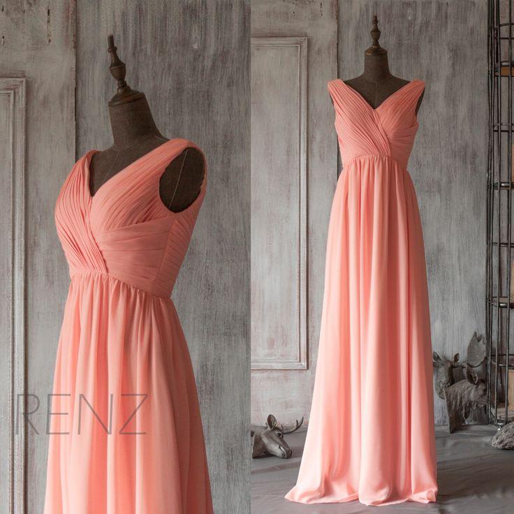 2015 Long Coral Bridesmaid dress, Blush Pink Wedding dress, Party dress, Womens Formal Evening dress, Maxi dress floor length (F126)-RENZ by RenzRags on Etsy https://www.etsy.com/listing/221255666/2015-long-coral-bridesmaid-dress-blush