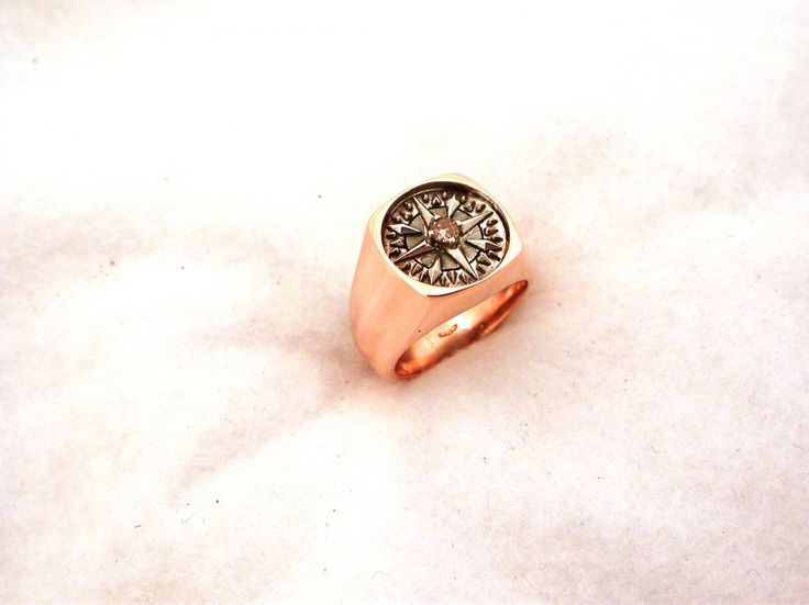 Ring - The Wind Rose. 18 carat gold (kt) pink and white gold: 14.80 grams (gr). 1 brawn diamond, brilliant cut, of ct.0.11. Size: 7 inches (Usa) | 14 mm (Italy). Codex: TOOS.ss.