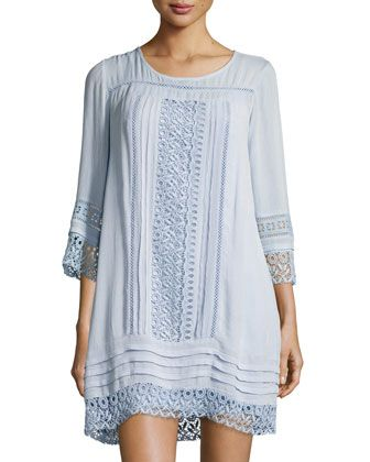 3/4-Sleeves+Crochet-Trim+Dress+by+Neiman+Marcus+at+Neiman+Marcus+Last+Call.