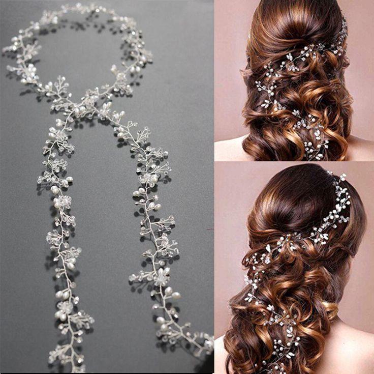 Luxury Leaf Headband Pearl Crystal Long Bridal Hairbands Floral Headpiece Headdress Wedding Hair Accessories Bride Tiara Jewelry //Price: $18.99 & FREE Shipping //     #hashtag4