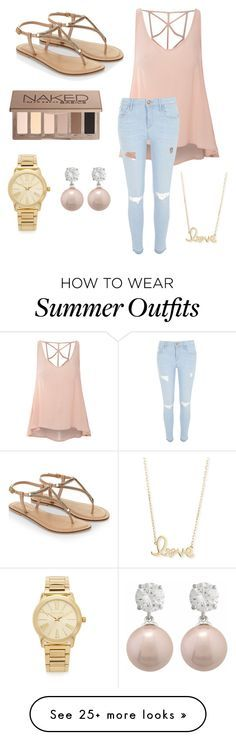 """""""Summer outfit perfect for eating chicken in """" by princessnugget13 on Polyvore featuring Glamorous, River Island, Accessorize, Urban Decay, Sydney Evan and Michael Kors"""