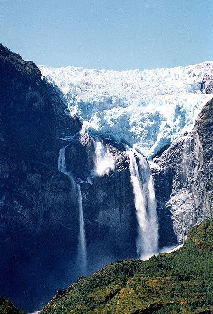 Ventisquero Colgante Falls, Queulat National Park, Chile -  1800 to 2000-ft high
