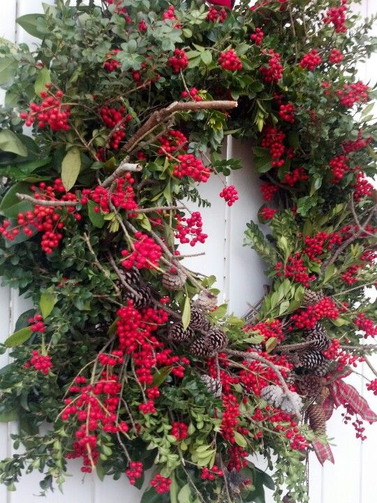 Rustic Berries and Twigs Christmas Wreath