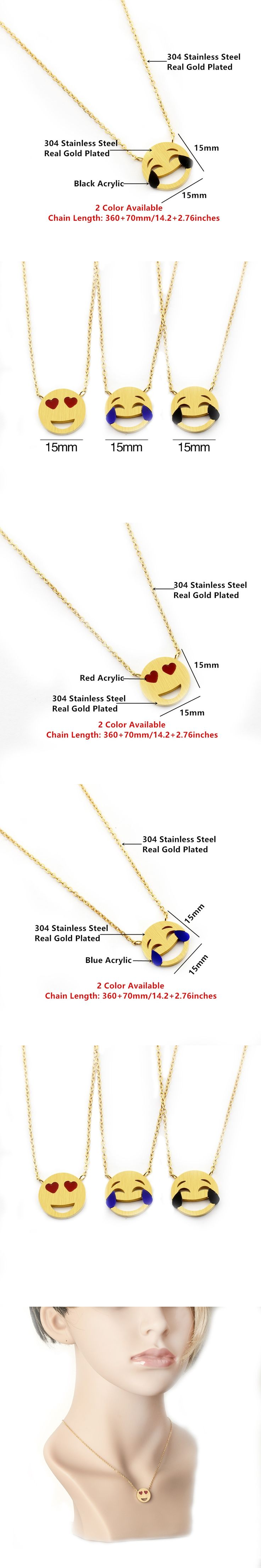 GORGEOUS TALE Stainless Steel Chain Jewelry Charm Laugh Cry Emoji Pendant Necklace for Women Red Heart Eye Blue Acrylic Necklace