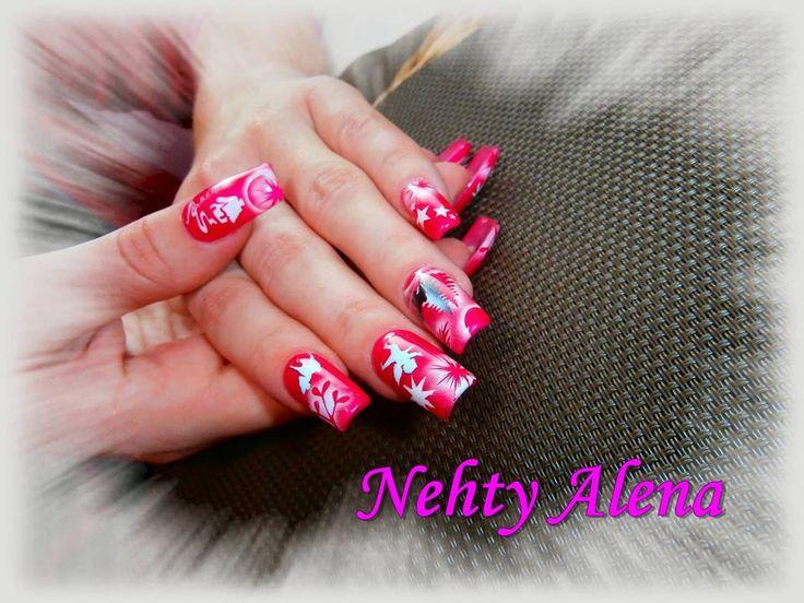 Airbrush - nail design dle mě ;) moje vlastní zima vánoce