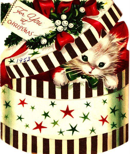 Vintage Christmas Card Image On CD Kitten Surprise Present
