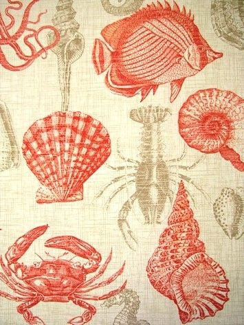 """Sealife Coral Beach & sealife Print. All weather fabric resists mildew, aging and fading. Perfect for outdoor seat cushions, pillows or upholstery. 25"""" up the roll repeat. 100% poly. 54"""" wide. Richloom fabric."""