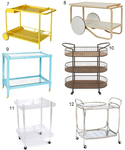 50 bar carts, serving carts, and trolleys for your home bar. Sleek modern and contemporary bar carts and traditional bar carts in wood, brass, and rattan.