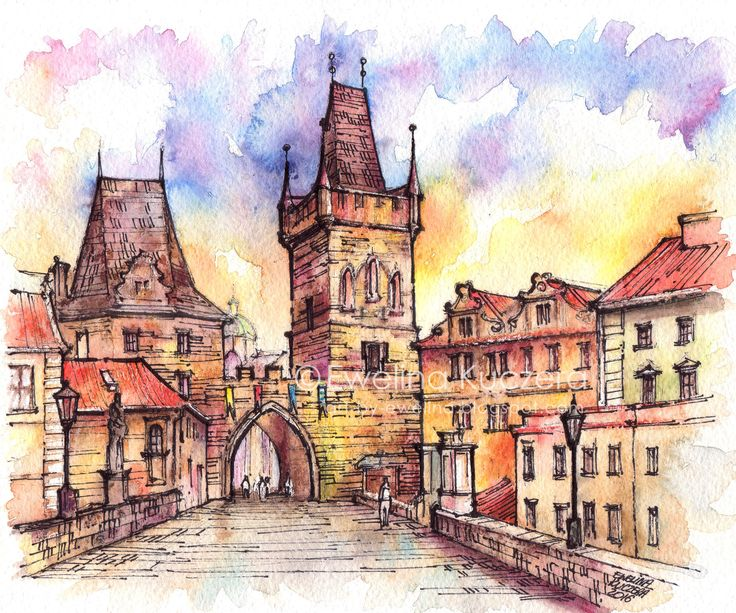 A4 painting.  #prague #czechrepublik #architecture #buildings #bridge #charlesbridge #watercolor #ink #fineliners #watercolorpencils #colorful #czechia #summer #art #painting #illustration #ewelinakuczera #sightseeing #vacation #postcard #monuments #sketch #urbansketch #malastrana