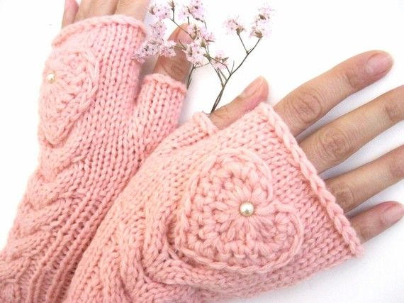 Pink Fingerless Wool Gloves with a heart, Mittens, Arm Warmers , Hand Knitted…
