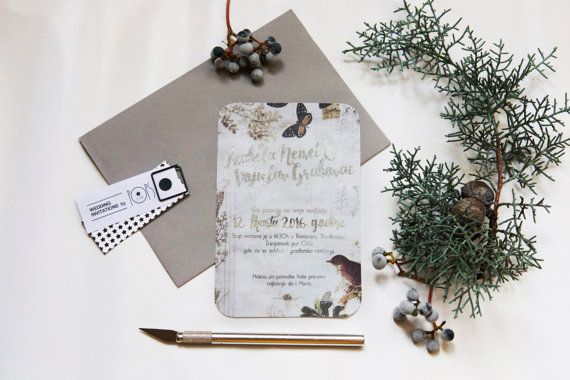 Forest Wedding Invitation with Silver foil by PopsDesign on Etsy