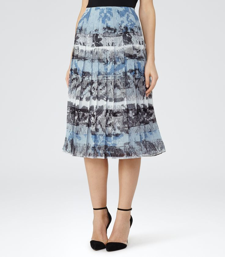 Reiss Multi Blue Printed Midi Skirt