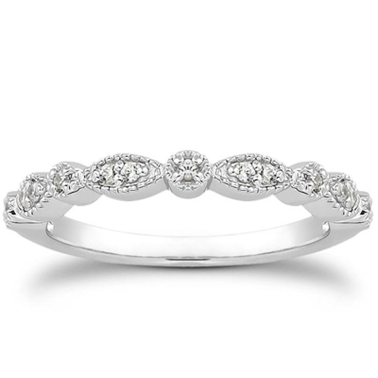 14K White Gold Vintage Look Fancy Pave Diamond Milgrain Wedding Ring Band