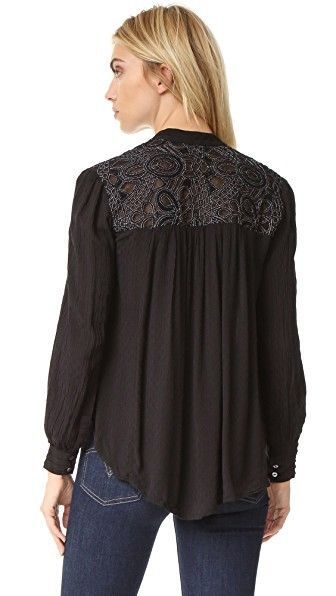 88206c36 3735 Nwt Free People Canyon Rose Button Down Black Shirt Tunic Top Small S  6 #fashion #clothing #shoes #accessories #womensclothing #tops (ebay link)