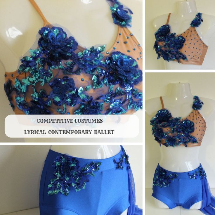 Royal blue with nude embellished bra top lyrical solo costume for competitive performance. No two are the same. Ready to ship in 1-3  business days.