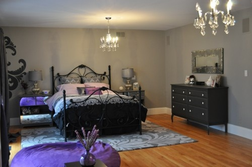Grey walls, hardwoods, black, white and purple