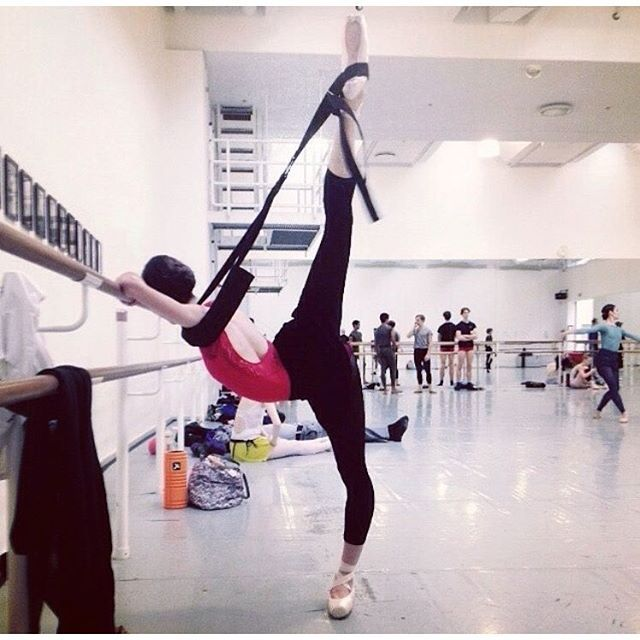 A beautiful arabesque via the lovely @wilgiglio or Royal Danish Ballet stretching with her #Flexistretcher