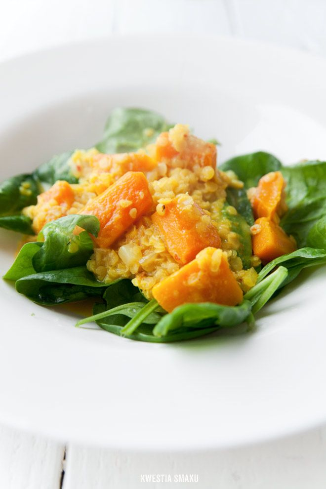 Pumpkin and lentil dhal served with baby spinach
