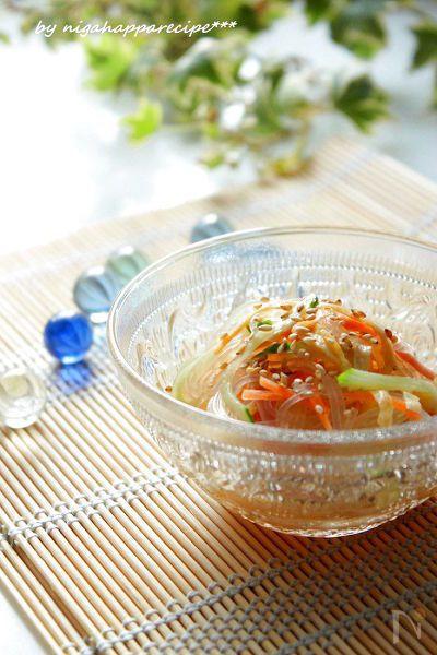めんつゆで作る春雨の中華サラダ   めんつゆとお酢、ごま油があればすぐに出来ちゃいます♪
