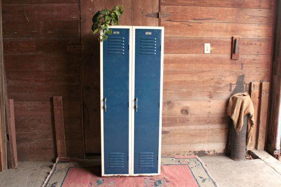 Vintage School Locker, Vintage Blue Metal Cabinet, Storage Locker, 2 Door Locker Unit, Gym Locker, Mid Century Locker, Industrial Cabinet