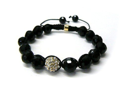 Gold Shamballa 10mm Glass Beaded Macrame Bracelet with 1 Iced Out Disco Ball JOTW. $9.95. Great Quality Jewelry!. This glass bracelet has 14 black disco balls. 100% Satisfaction Garunteed. Unique adjustable pull string cobra stitched lanyard design
