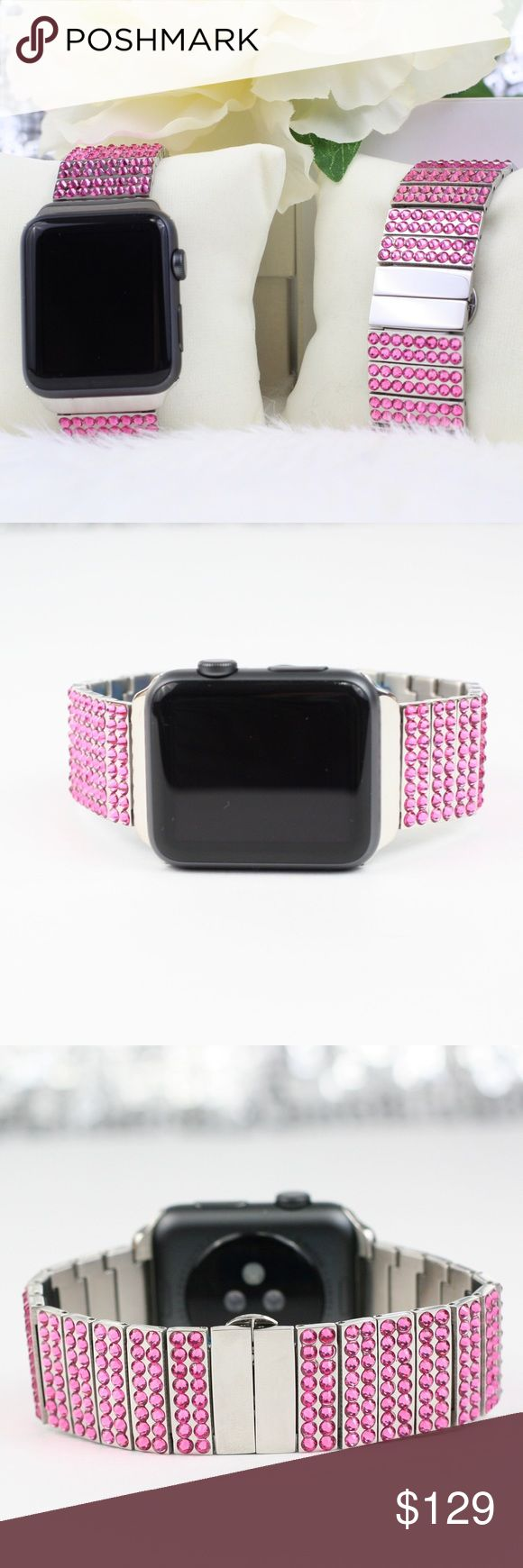 "Apple Watch Band Jeweled Swarovski Stainless Pink Luxurious Jeweled Apple Watch Band, pink Swarovski Crystals Compatible with Series 1 and Series 2. Available in 38mm or 42mm. Fits wrist sizes up to 8"". Links are removable to fit your wrist. Additional links can be ordered at an additional cost. Photos do not capture the brilliance on these Apple Watch bands. Ultimate Sparkle. Shining & bling. Xaltium Accessories Watches"