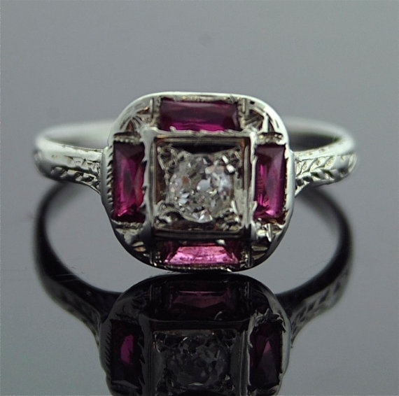 Antique ruby ring: Cut Synthetic, French Cut, Synthetic Ruby, Antiques Diamonds Rings, French Antiques, White Gold, 18K White, Antiques Rings, Antique Diamond Rings