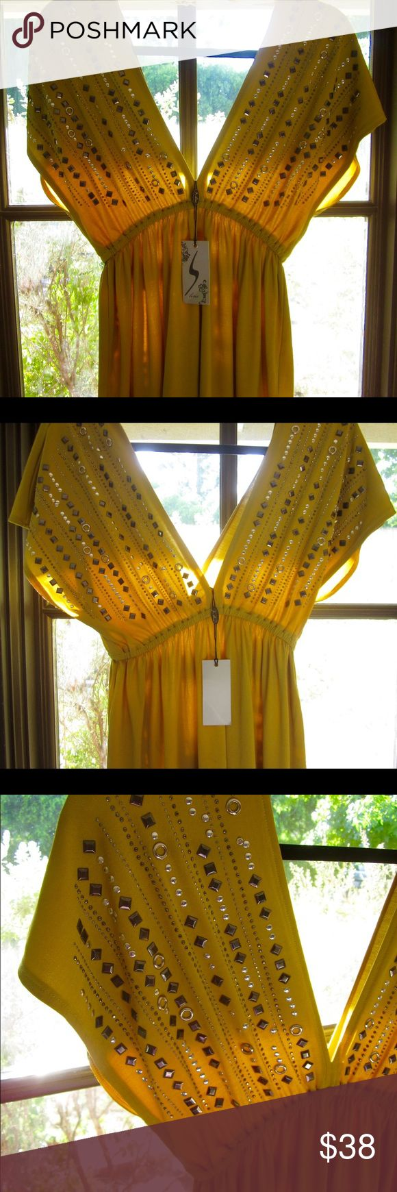 Brand New Mustard Dress Beautiful mustard colored dress that's decorated in studs. Tag says size L but it fits more like a Medium. Never worn. Dresses Mini