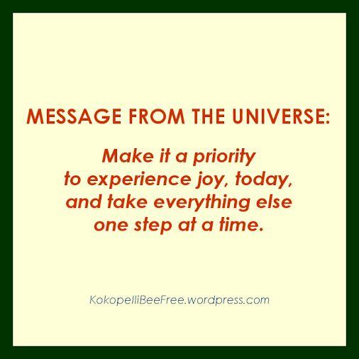 MESSAGE FROM THE UNIVERSE Joy & Everything Else | #KokopelliBeeFree #KBFMessagesFromTheUniverse #JoyAndEverythingElse
