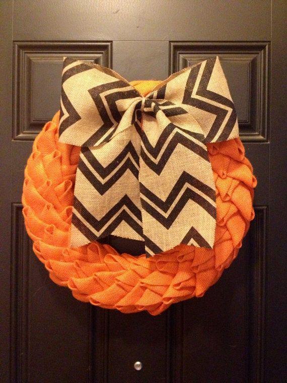 18 Orange Burlap Wreath w/ Chevron Burlap Bow by TheMiddleSisterCo, $68.00