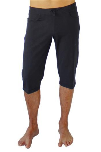 Yoga Knickers Mens Black Yoga Pants by Anjali. Stylish and functional, the Yoga Knickers Black Mens Yoga Pants are engineered for practice yet designed to be your favorite cropped pants. The Knickers have J-Pockets on front to slip your valuables into and a back yoke for an optimal fit. An elastic waist band with an added draw string ensure that everything stays where it is supposed to. Buy at www.karmic-fit.com #yoga #mensyogawear #mensyogapants