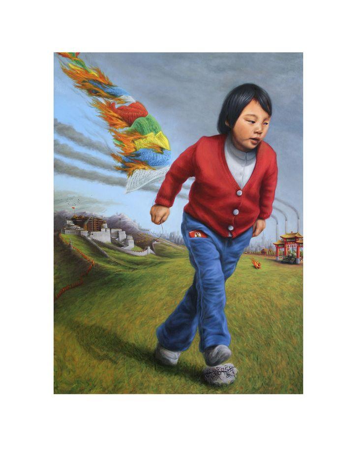 Between Dharamsala and BeijingBETWEEN DHARAMSALA AND BEIJING Print $80.00 Image of Between Dharamsala and Beijing Original painting: 'Between Dharamsala and Beijing'. Oil on canvas, 92 x 122cm.