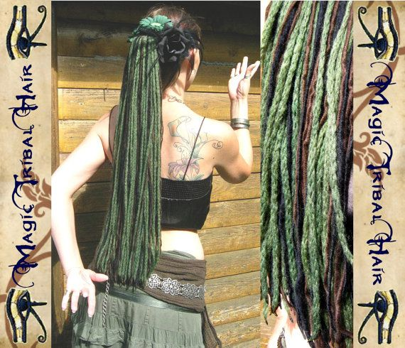 "FAIRY Fantasy DREAD FALLS ""Forest Witch"" dreadlock yarn hair falls 112 dreads 23''/ 60 cm long Reenactment Larp Sca elf amazon extensions. €28.00, via Etsy."