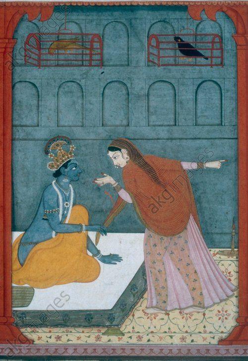 """Krishna's impatience"" (Krishna pulls Radha towards him). Gouache on paper, India, Pahari, 1760,  Benares, Bharat Kala Bhawan Museum"
