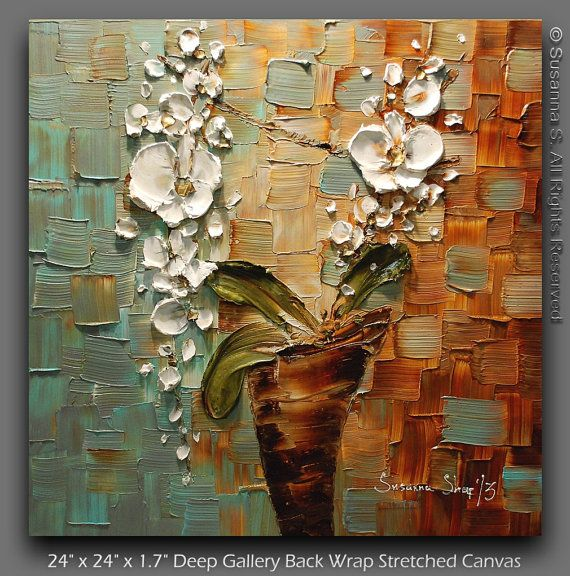 Original contemporary fine art - white orchid in vase modern impasto palette knife acrylic and oil painting - heavy textured white flowers on blue and brown. To see closeups please click on above images.    Artwork description:  white orchid floral abstract painting    Size: 24 x 24 x 1.7  Deep Gallery Edge, back wrapped stretched box canvas, black painted edges    Medium: Mixed Media Acrylic  Dominant Colors: rust, brown, beige, robins egg blue blue, pale turquoise, grey, olive green, white…