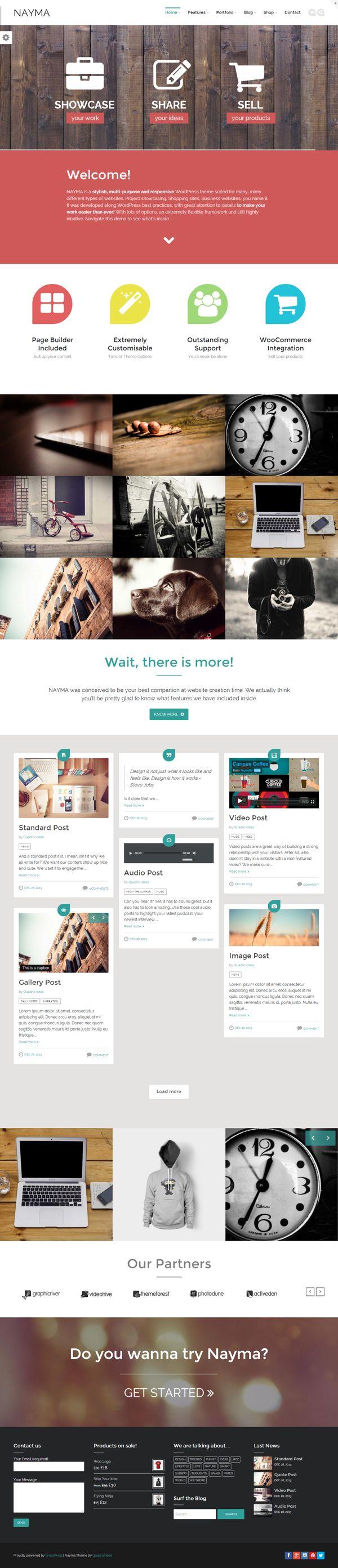 Nayma - Multi-Purpose WordPress by WordPress Design Awards, via Behance