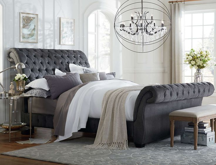 Bombay Upholstered Bed (Gunmetal Grey) - Tailor button tufted and pleated upholstery. Heavy padding and Bombay roll design.