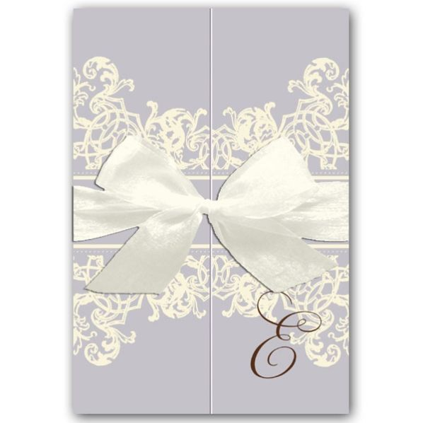 Lace Stripe Lavender Gatefold Baby Shower Invitations | PaperStyle