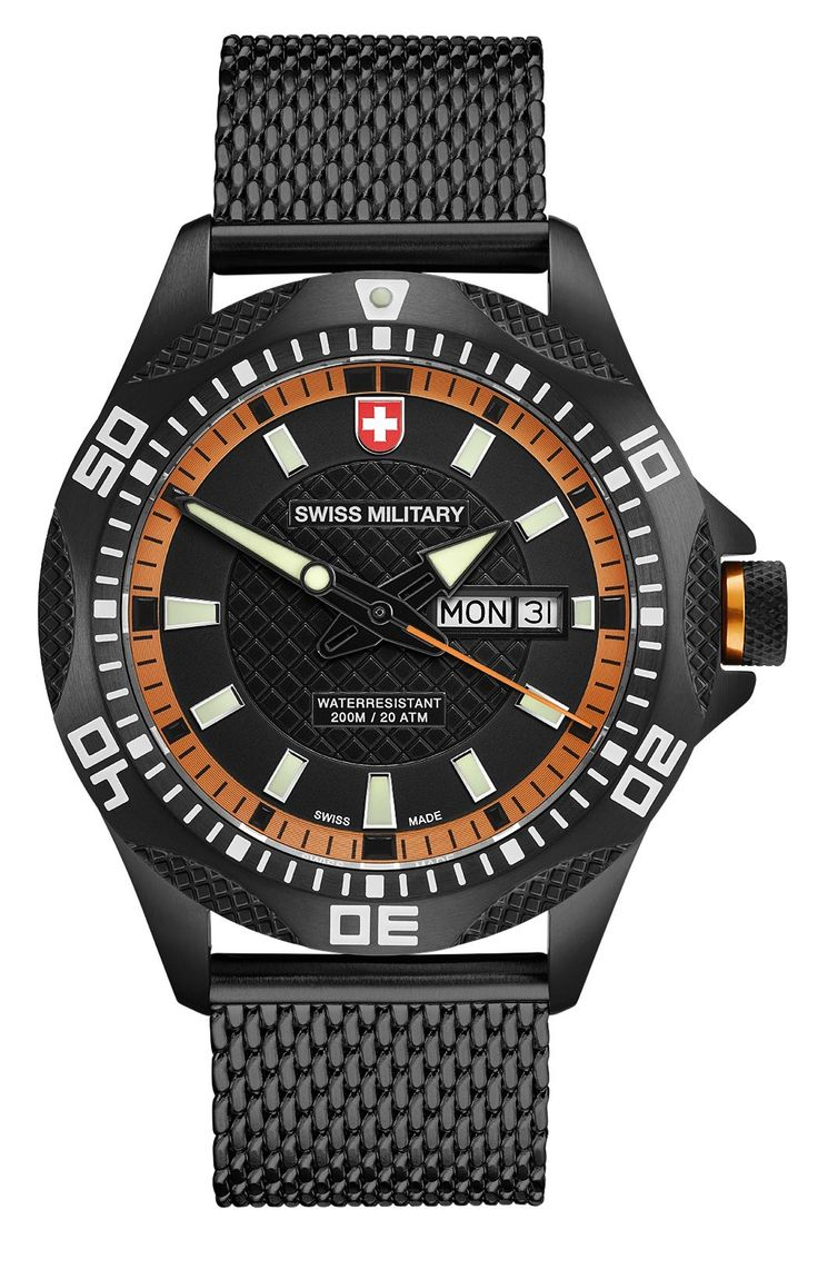 M's SWISS MILITARY day/date watch TANK NERO, Ronda cal. 517 Swiss Made quartz mvt., black/orange dial, black PVD stainless steel case/mesh bracelet, screw-down crown, sapphire crystal, 20atm / 200m water resistance, black PVD plated stainless steel bracelet, width 22mm, with double pusher butterfly buckle, case: 44 mm, weight: 148gr. rrp = USD 722