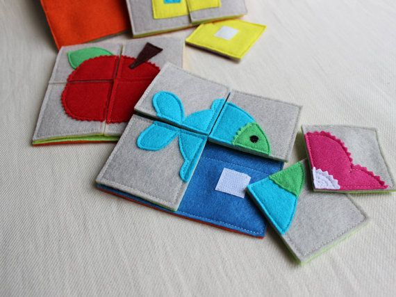 My first puzzle / Early years toy / Busy bag  Puzzle for Toddlers, made is Felt. The subject of this puzzle is cut out of felt and attached by