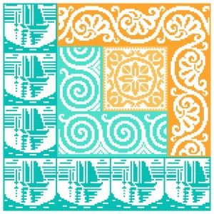 Nautical Log Cabin free pattern from Gracewood Stitches