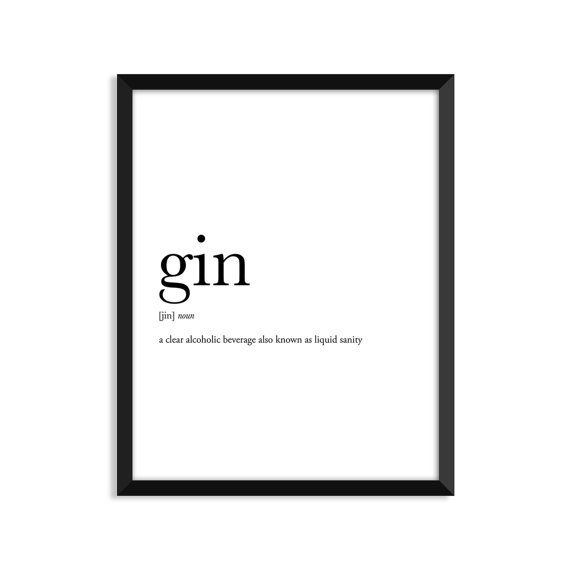 Gin, alcohol sign, alcohol gifts, gin definition, college dorm girl, dictionary art, minimalist poster, funny definition print, dorm