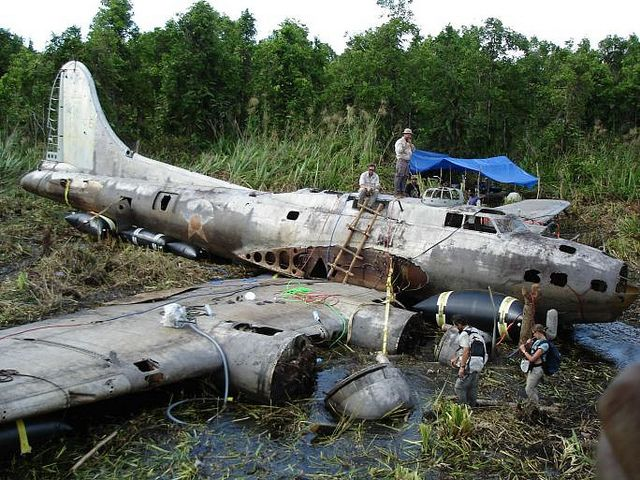 "This is the Boeing B-17E Flying Fortress known as the ""Swamp Ghost"", serial number 41-2446, which crash landed in Agaiambo swamp near Papua, New Guinea in 1942, during the start of salvage operations."