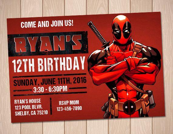 Deadpool Invitation Superhero Printable Birthday Party Por