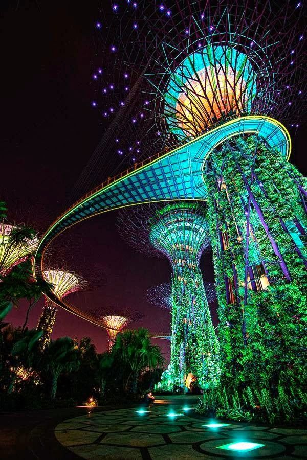 gardens by the bay is a park spanning 101 hectares 1010000 m2 of reclaimed