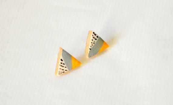 YELLOW OCHRE  wooden triangle stud earrings with by SandyKampani