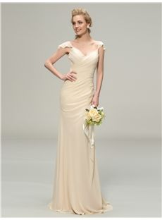 Natural Zipper-up Wedding Party Floor-Length Summer Pleats All Sizes Sheath/Column Dress
