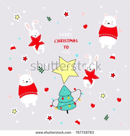 My card for New Year. Cute Christmas Comic Animals. New Year background.  #polarbears #rabbit #fox #star #pattern #newyear #christmas #illustration #illustrator #ksenyaknysh